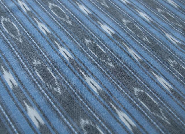 Blue Ikat Fabric Artisan Hand-Dyed & Hand-Woven Cotton Andhra Pradesh, India Art