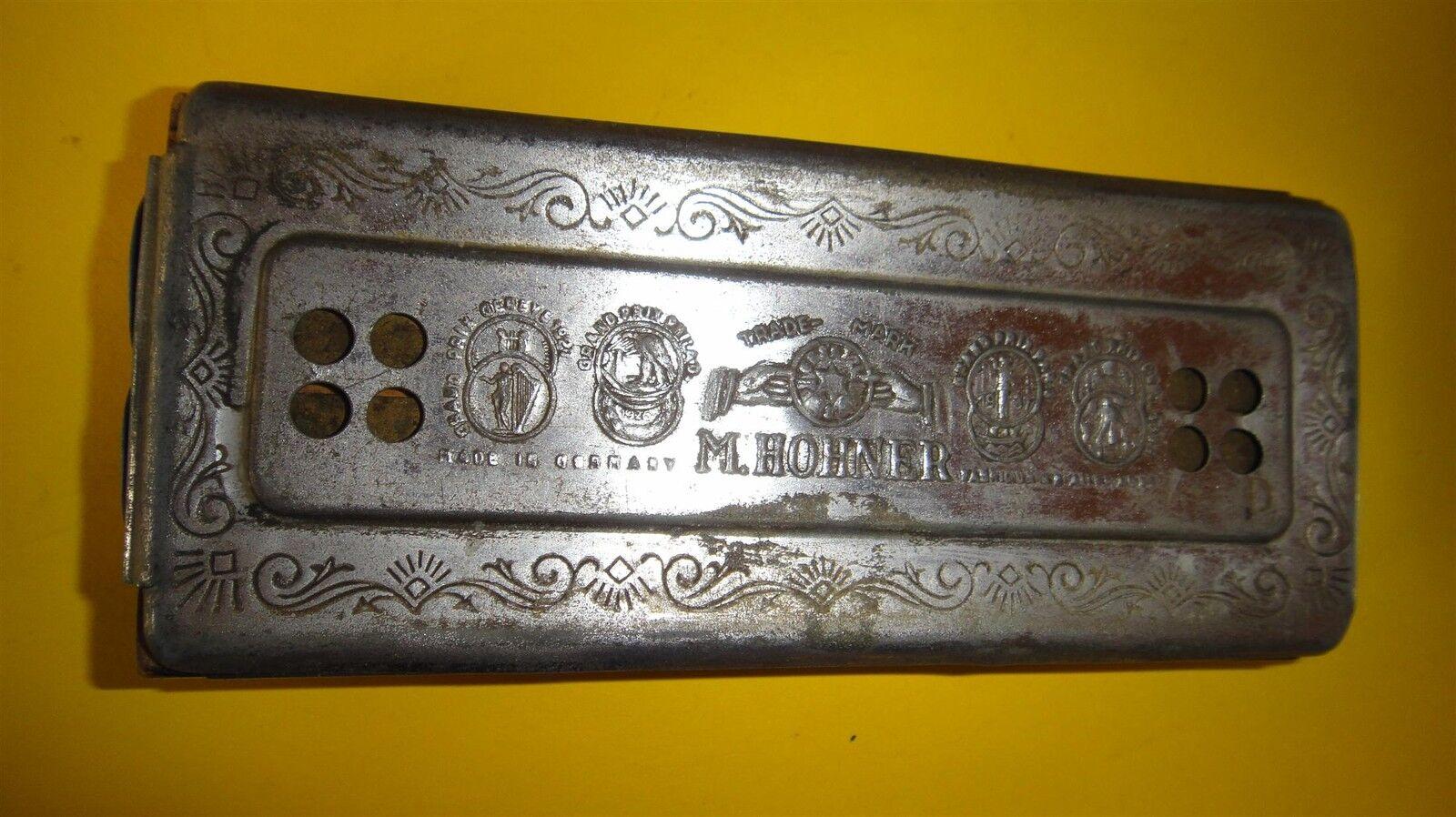 Scarce 1937 ww2 star of david judaica M . HOHNER german harmonica doble Größe