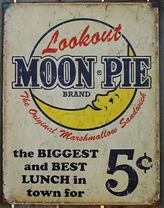 Vintage-Replica-Tin-Metal-Sign-MOON-Pie-marshmallow-sandwich-snack-cake-1801