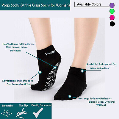 Bello Yoga Fitness Grip Exercise Socks For Women Sports Gym Non Slip Cotton Pilates Uk
