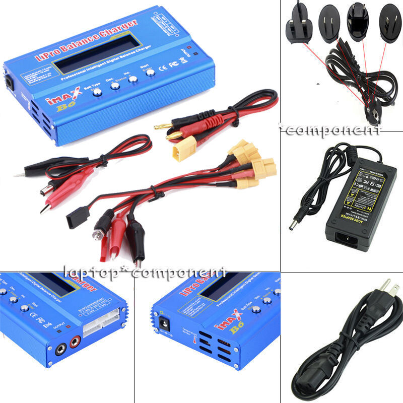 80W iMAX B6 Multi-function XT60 XT60 XT60 LiPo Battery Digital Balance Charger+Adapter KIT c7a45d