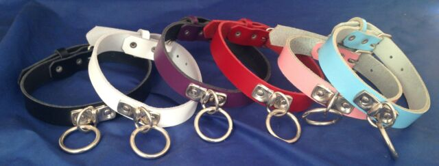 Leather D & O-Ring Choker Necklace Choice of Colours & Ring Size Hand Made Goth