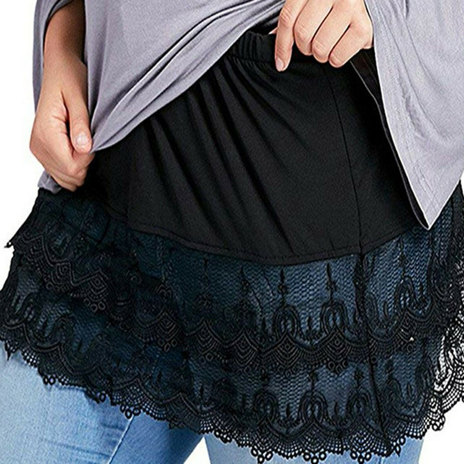 Women Mini Skirt Shirt Extenders Lace Hollow Stitching Short Skirt Accessory