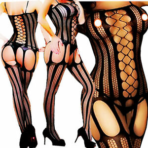 766b2e65b3 Image is loading Women-Sexy-Lingerie-Fishnet-Sleepwear-Body-Stocking-Thigh-