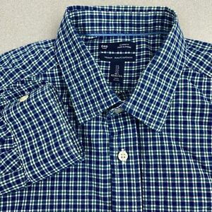 Gap-Button-Up-Shirt-Mens-Large-Blue-Green-Long-Sleeve-Classic-Fit-Cotton-Check