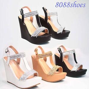 416c03d48d950 Women s Sexy Bridal Rhinestone T- Strap Buckle Wedge Heel Sandal ...
