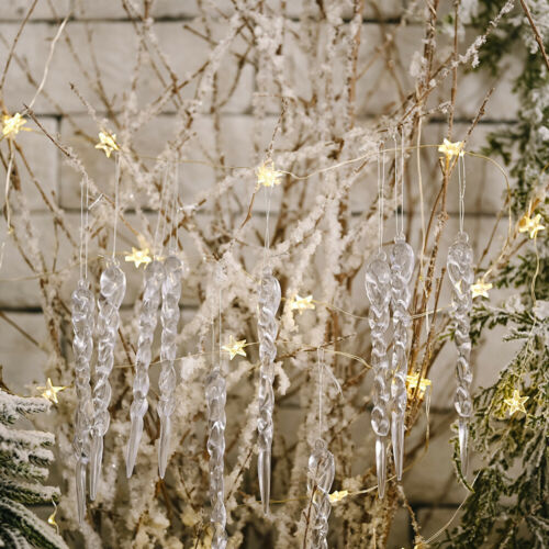Christmas Icicle Ornaments Xmas Tree Hanging Decor Party Decoration 12pcs Home