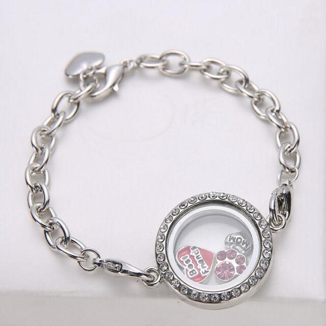 New Diy Photo Frame Bracelet Living Memory Locket Floating Silver ...