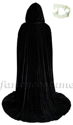 Halloween Velvet Hooded Cloak Cape Black Deluxe Adult Vampire Costume W//Fangs!!!
