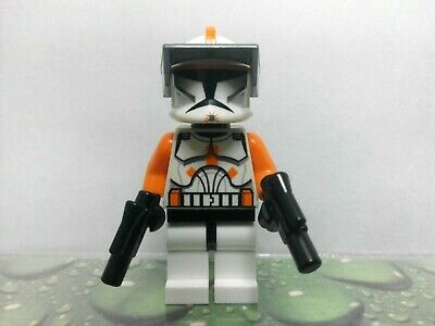 LEGO STAR WARS COMMANDER CODY 7959 7676 MINIFIG TROOPER ORANGE w REAL CLONE HEAD