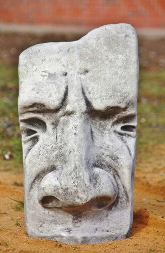 SKULPTUR OSTERINSEL MASKE GROß aus STEINGUSS GESICHT 50 cm H STATUE GARTEN 4234