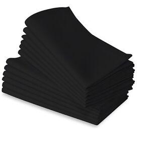 50Pk BLACK COMMERCIAL COTTON RESTAURANT DINNER CLOTH 20X20 HOTEL NEW NAPKINS