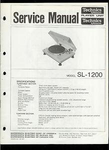 Details about Rare Original Factory Technics/Panasonic SL-1200 Turntable  Service Manual