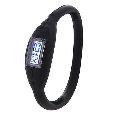Fashion Silicone Digital Jelly Men Women Unisex Anion Sports Wrist Watch Black