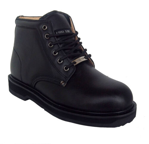 Vegace 9008 Mens Black Leather Non Slip Steel Toe Work Boots