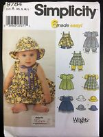 Simplicity 9784 Babies Dress, Pinafore, Panties, Pantaloons, & Hat - Sizes Xs-l
