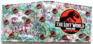 The-Lost-World-Jurassic-Park-Wallet-Geldboerse-ID-Fenster-Kartensteckplaetze-Zip-Coin-Pocket