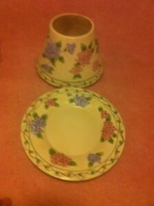 YANKEE-CANDLE-FLORAL-PLATE-amp-JAR-TOPPER-SHADE-FREE-SHIP-VGC