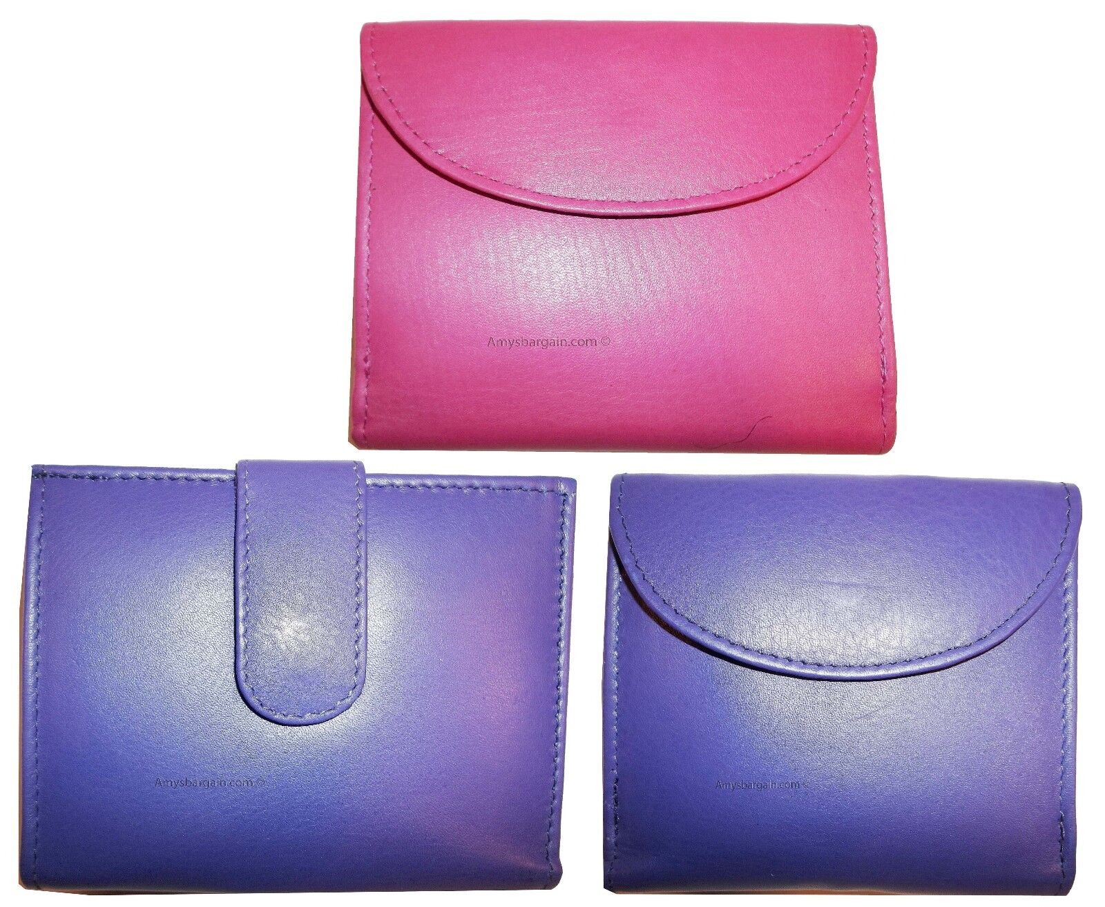 Lot of 3 New Woman's Leather Compact Wallet Credit Cards ID Bi-fold change purse