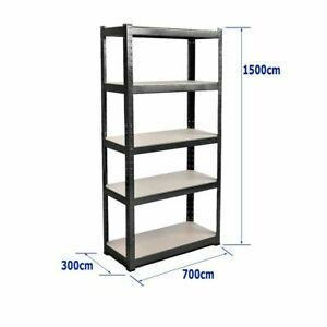 1500-x-700-x-300-mm-Heavy-Duty-Storage-Racking-5-Tier-Black-Shelving-Boltles