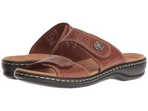 a409abb45 Image is loading New-Clarks-Women-Leisa-Lacole-Leather-Slide-Sandal-