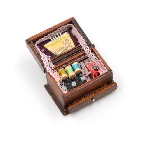 Vintage Sewing Needlework Needle Kit Box 1:12 Dollhouse Miniature Mini Decor  CR