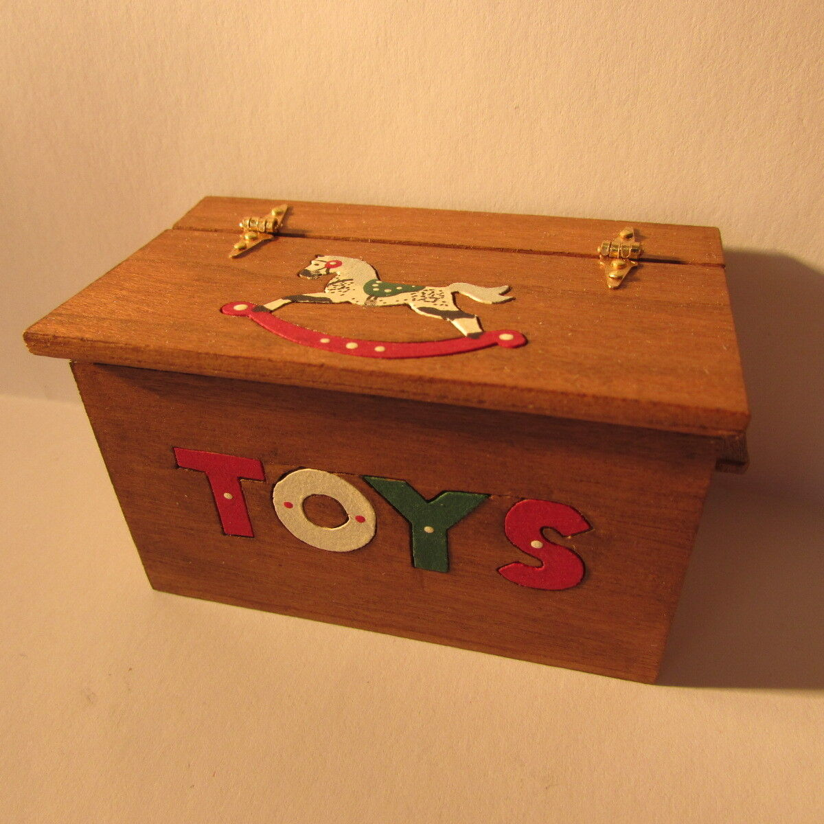 Artisan made wooden toy box with opening hinged lid  dollhouse miniature  1:12