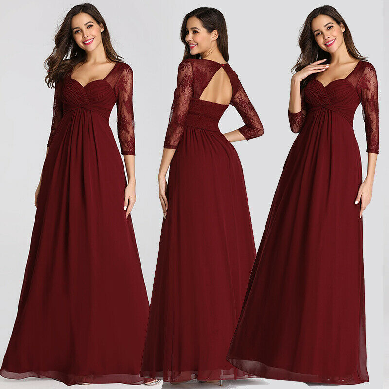 9888fdafa554 Ever-Pretty Long Lace 3 4 Sleeve Evening Bridesmaid Dress Formal Prom Gown  07746