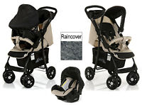 Hauck Almond Caviar Shopper Shop N Drive Travel System Stroller 0 + Car Seat