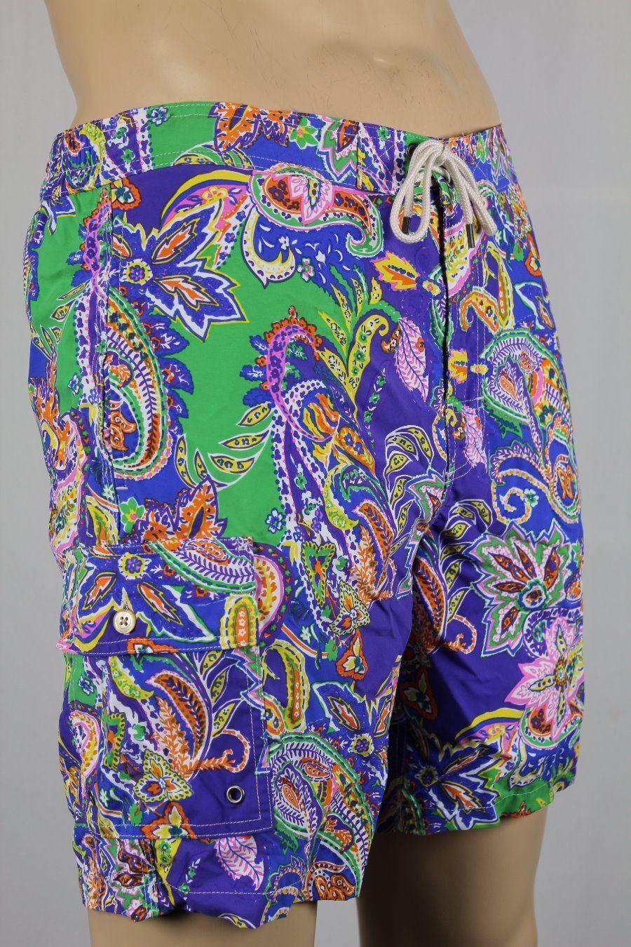 Ralph Lauren Green Pink Purple Paisley Swim Shorts Trunks NWT