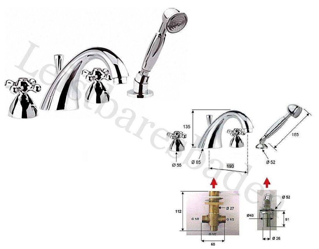 4-Loch Wannenrandmischer Serie Retro mit herausziehbarer Handbrause