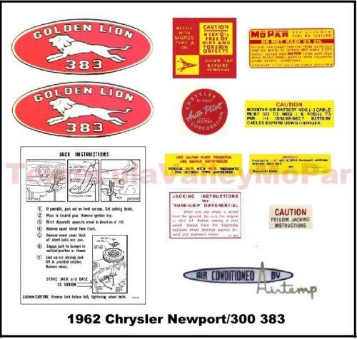 Under-Hood /& Trunk Decal Set for 1960-1962 Chrysler /& Imperial