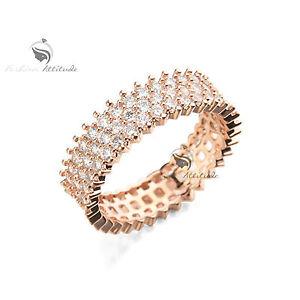 18K-Rose-Gold-Plated-women-039-s-wedding-Ring-Simulated-Diamond