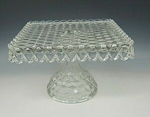 Fostoria-Crystal-AMERICAN-CLEAR-10-034-Square-Cake-Stand