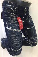 Mens Jean Victorious Straight Leg Destroyed Blue Silver Paint Biker Rocker 1034