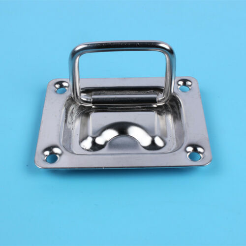 Pair Stainless Steel Flush Hatch Locker Latch Boat Deck Cabinet Pull Lift Handle