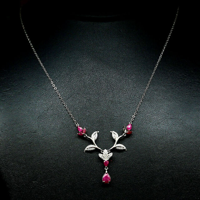 NATURAL PINK RUBY & WHITE CZ PENDANT & NECKLACE 21