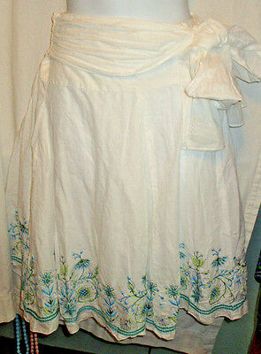 Junior's Joe Benbasset White Skirt Cotton Below Knee Size 5 Embroidered Belt