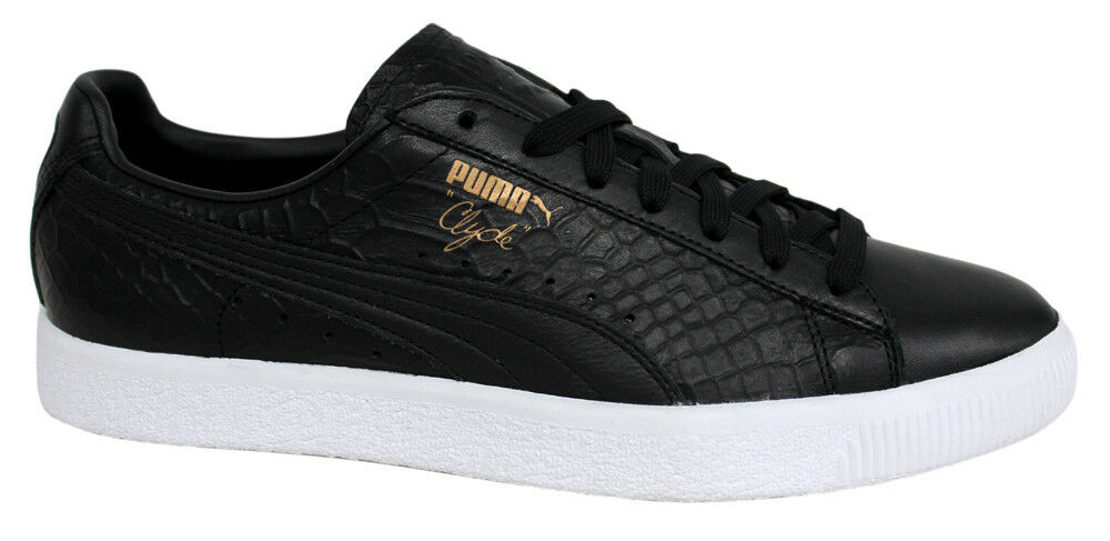 save off adb81 16343 Details about Puma Clyde Dressed Lace Up Black Leather Mens Trainers 361704  01 D34