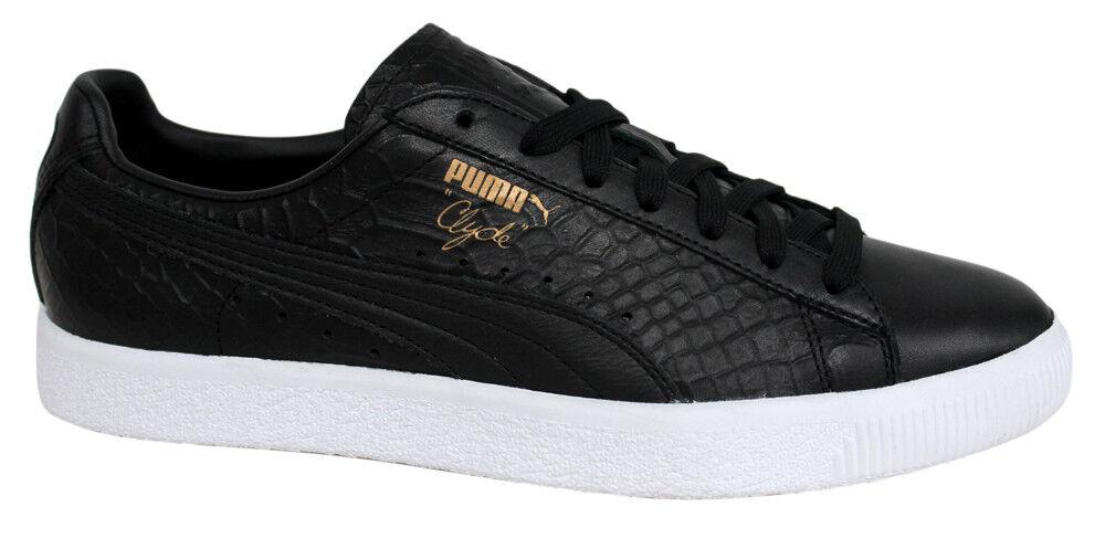 Puma Clyde vestido negro con cordones de cuero negro vestido Hombre Trainers 361704 01 D34 barato y hermoso moda 5c8d2a