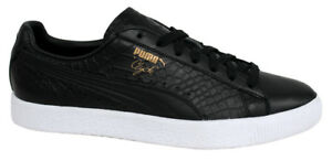Image is loading Puma-Clyde-Dressed-Lace-Up-Black-Leather-Mens-