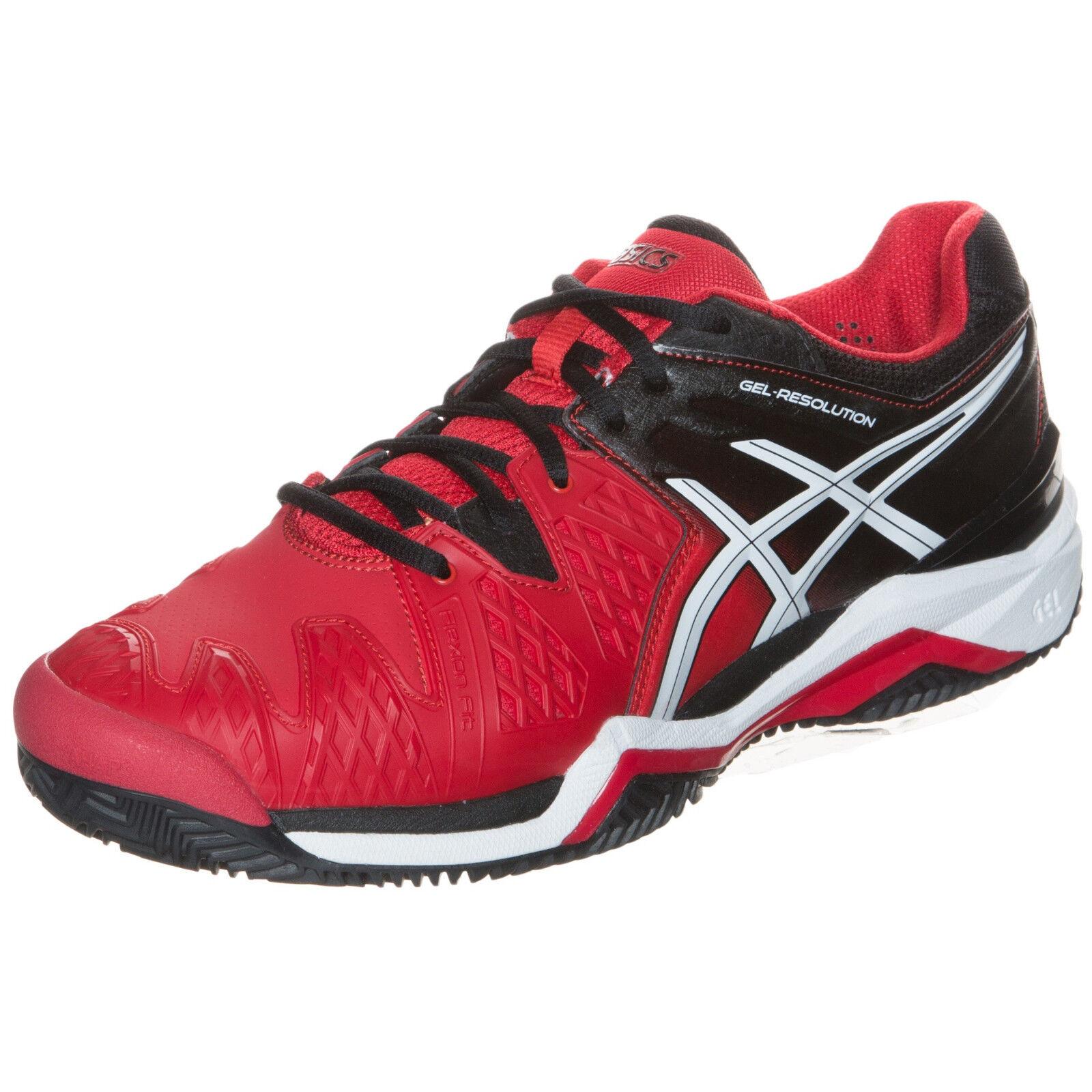 Asics Gel de resolución 6 Para hombres Zapatos tenis de arcilla Zapatillas-Rojo Negro-reg  140
