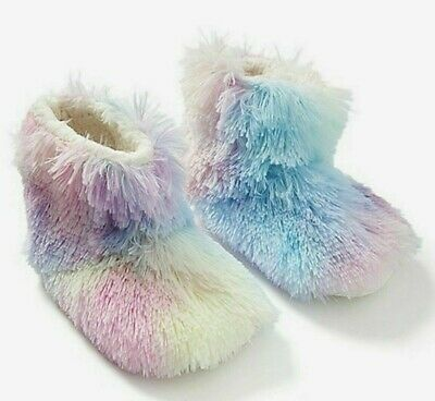 NWT Justice Rainbow  Fur Bootie Slippers Pajama Shoes Girl 12 2 3 4 6 9 XS S M L
