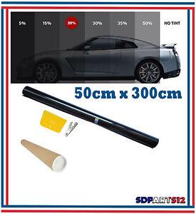 Film-Solaire-De-Qualite-3m-x-50cm-Teinte-20-VLT-Noir-Auto
