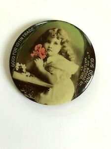 POCKET MIRROR GOOD FOR 10 CENTS TRADE ADVERTISING WATERFORD NEW YORK CELLULOID