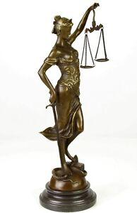 Justicia Bronze Figurine Sculpture Justice Brandit La Loi H: 40 Cm-afficher Le Titre D'origine Produits Vente Chaude