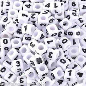 300-Weiss-Acryl-Zahlen-amp-Symbol-Wuerfel-Perlen-Beads-Spacer-7x7mm