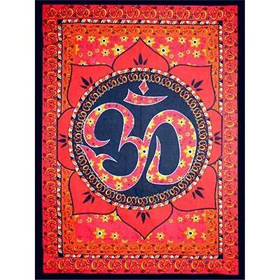 OM Lotus Red Cotton Tapestry!