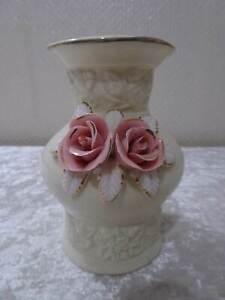 Hekari-Design-Avorio-Vaso-Porcellana-Sovrapposte-Fiori-Rose-Dipinti-a-Mano