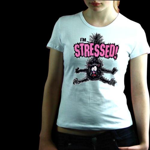 * Fun T-Shirt Damen Stress Burn Out Katzen Motiv  *7079